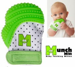 NEW Munch Mitt Silicone Baby TEETHER Teething Mitten with Travel Wash Ba... - $12.95