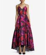 Betsy & Adam Floral-Print High-Low Gown Black/Red/Hot Magenta Size 8 $320 - $151.99