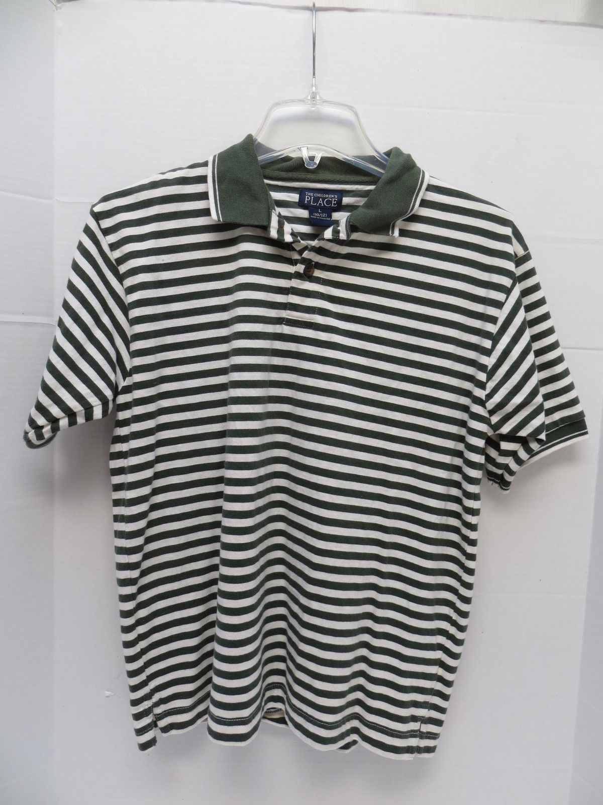 Boys Children's Place Pine Green Striped Polo Size L - $6.79