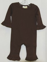 Blanks Boutique Brown Long Sleeve Snap Up Ruffle Romper Size 6M image 1