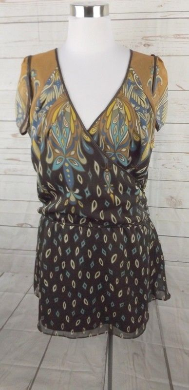 New BCBG Faux Wrap Chiffon Dress Medium Brown Cap Sleeve