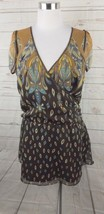 New BCBG Faux Wrap Chiffon Dress Medium Brown Cap Sleeve - $37.99