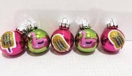 "Christmas Flamingo Popsicle MINI Glass Ball Green Pink Ornaments 1"" Set ... - $9.99"