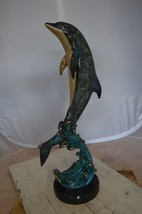 """Dolphin Fountain  On A Marble Base Bronze Statue -  Size: 12""""L x 8""""W x 3... - $629.00"""