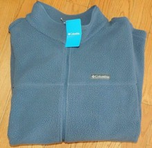MENS COLUMBIA SPORTSWEAR BOULDER SPRINGS FULL ZIP GREY FLEECE JACKET COA... - $37.39