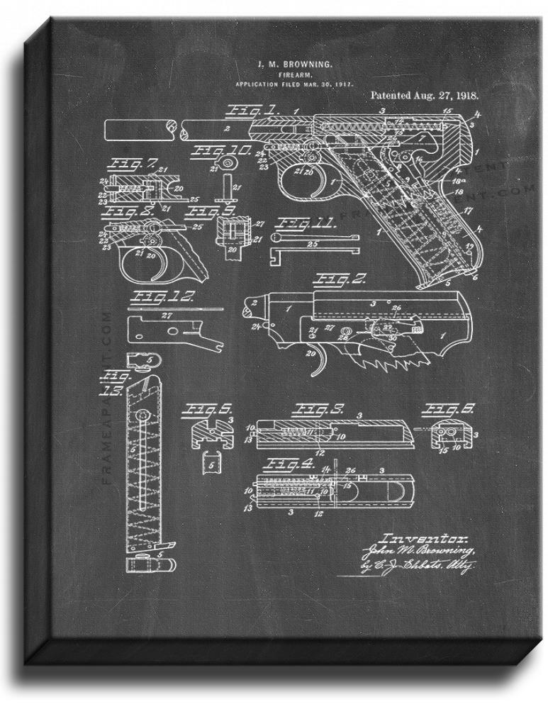 Primary image for Colt Woodsman Firearm Patent Print Chalkboard on Canvas
