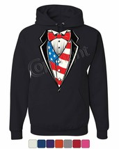 American Flag Tuxedo Hoodie Funny 4th of July Stars and Stripes Sweatshirt - $21.83+