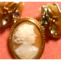 Beautiful~Cameo Brooch AND Earring Lot - $23.76