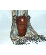 Brown Metal Urn-Style Vase with Handles from India - Great Style & Appeal! - $25.00