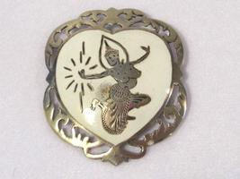 Antique vintage sterling silver Siam Enamel brooch - $35.00
