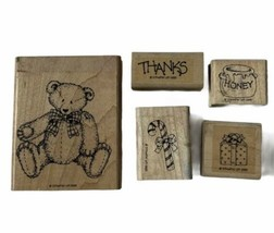 Stampin' Up! Button Bear 1995 Wood Mounted Rubber Stamp Set Of 5 - $6.92