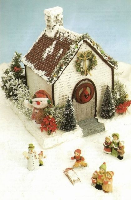 Primary image for X097 Crochet PATTERN ONLY Winter Cottage House Gingerbread Style Christmas