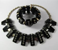 Vintage 1930s Art Deco Black BAKELITE & Rhinestone Necklace Stretch Brac... - $642.51
