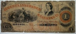 1860 antique 1 DOLLAR CURRENCY bank note AUGUSTA INSURANCE BANKING ga ci... - $124.95