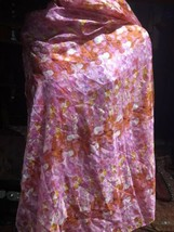 Vintage Echo Pink And Orange Silk Scarf Wrap Shawl - $34.65