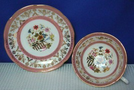 Royal Grafton China Footed Tea Cup & Saucer Pink Bands Floral Urn Pat 1840 Euc - $18.53