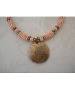 Peachy Beaded Bead & Pearl Necklace With Carved Shell Pendant, Sterling ... - $85.00