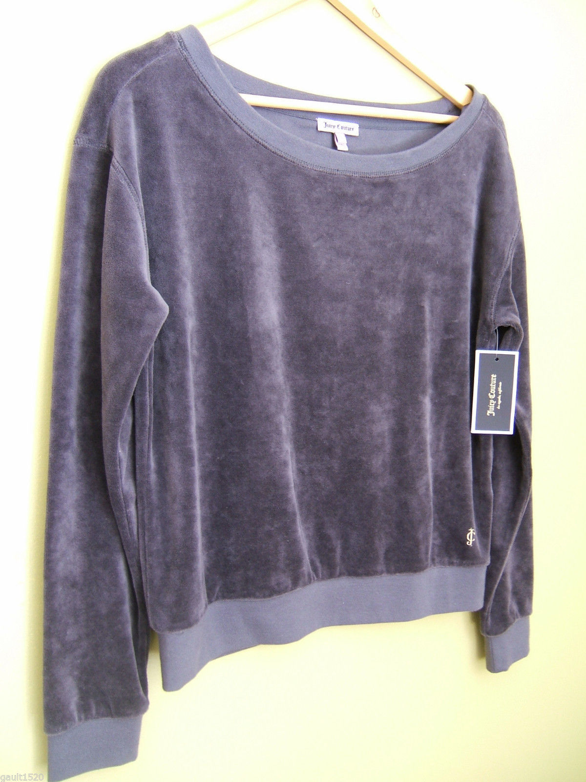 NWT Juicy Couture Sexy Gray Velour Top Hat Boatneck Pull Over Sweater Top S $98