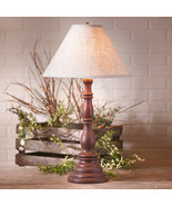 Distressed PRIMITIVE RED TABLE LAMP & Ivory Linen Shade - Handmade Light... - $263.95