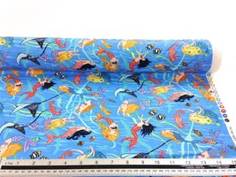 Swimming Mermaids Blue 100% Cotton High Quality Fabric Material 3 Sizes - $3.06+
