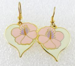 "LAUREL BURCH ""Hibiscus Heart"" White Pink Enamel Gold-Tone Drop Dangle EA... - $25.00"
