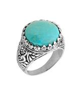 argento sterling rotondo gemma pietra turchese anello - $79.98