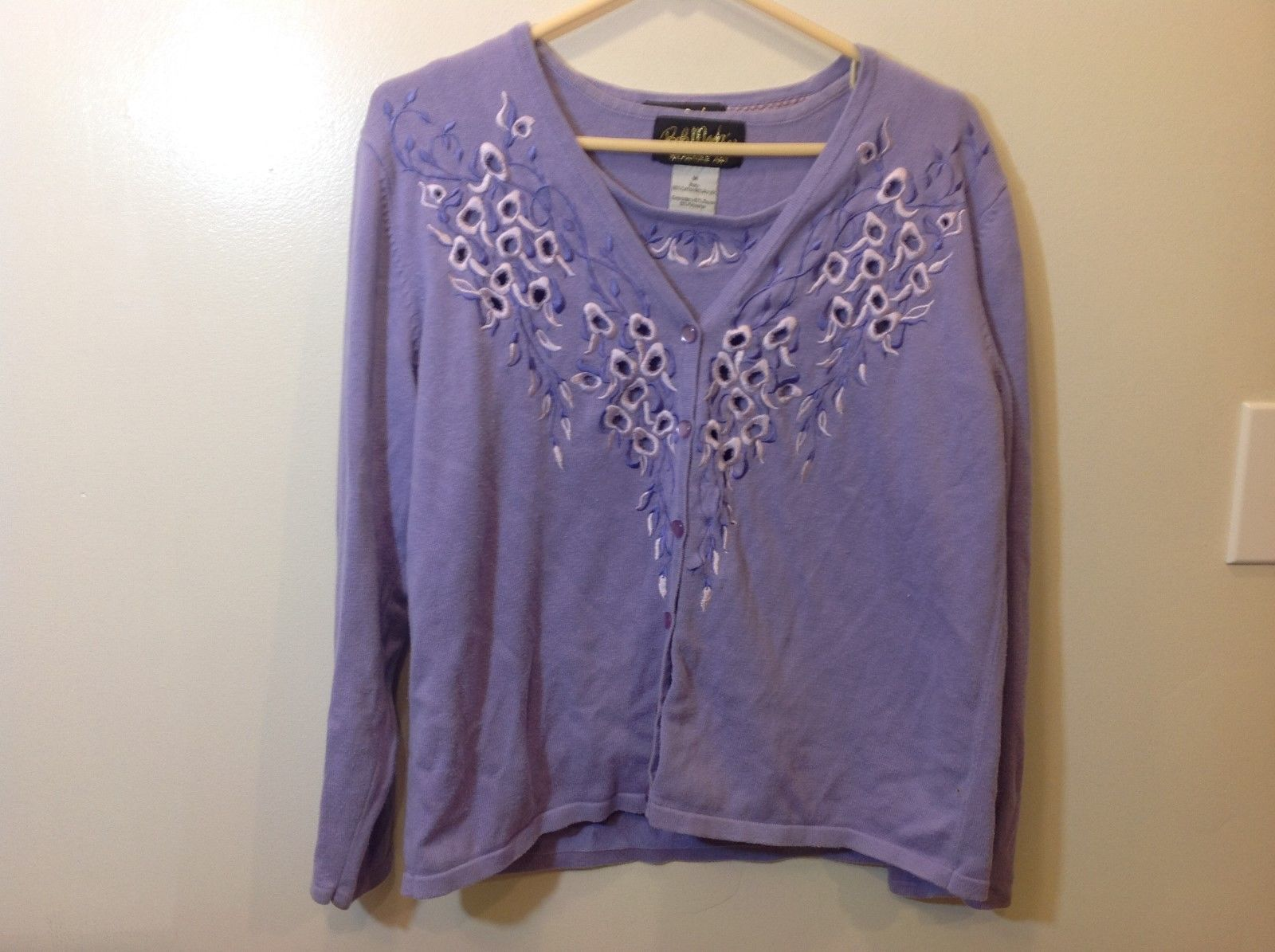 Bob Mackie Ladies Matching Purple Tank/Cardigan Set Sz M