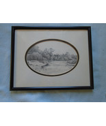 Fine Art Drawing Signed JT 79 Country Scene - $21.05