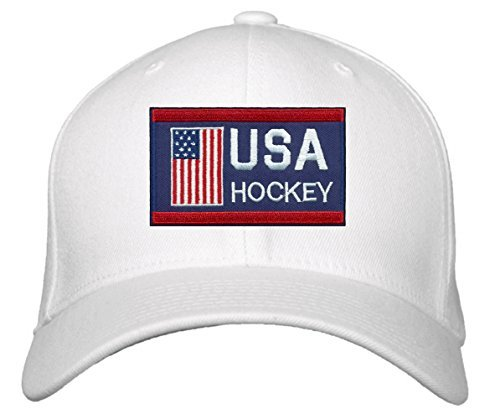 USA Hockey Hat - Adjustable White Cap - America Winter Olympics Red/Blue