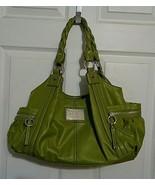 Relic Green Purse Shoulder Bag Twisted Braided Handles Inner Leopard Print Trim  - $8.00