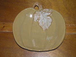 Estate Tan Fall Thanksgiving Ceramic Pumpkin with Carved Leaf Candy Deco... - $9.49