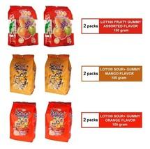 [6 PACKS] COCOALAND LOT 100 LOT100 FRUITY ASSORTED & SOUR+ MANGO ORANGE ... - $37.90