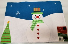 Set of 2 Soft Non Woven Fabric Placemats, CHRISTMAS TREE & SNOWMAN, HT - $12.86