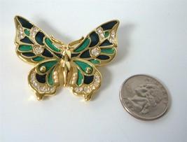 Vintage Danecraft Blue Green Enamel Rhinestone Butterfly Brooch Pin Gold Plated - $19.79