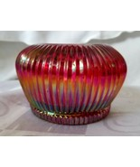 Fenton Ruby Cranberry Ribbed Glass Bowl Votive Candle Holder Carnival Glass - $45.55
