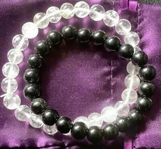 Azeztulite & Black Tourmaline Stretch Bracelets Unisex with Certificate - $22.77