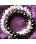 Azeztulite & Black Tourmaline Stretch Bracelets Unisex with Certificate - £17.63 GBP