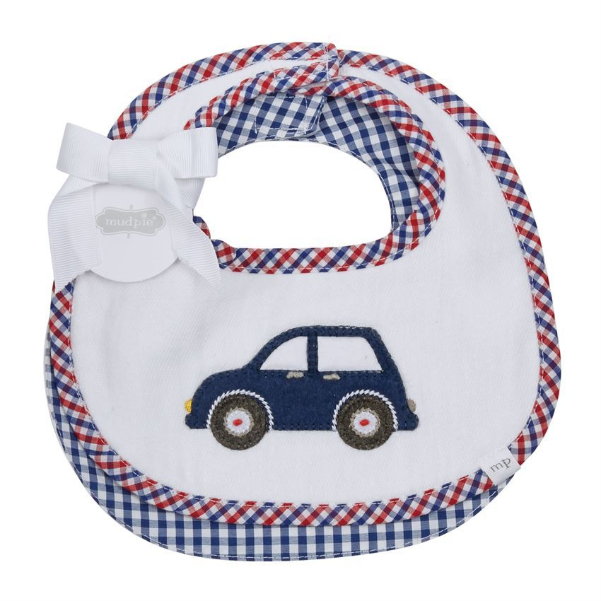 "Mud Pie Baby Boy Car  Two Piece Bib Set 7 1/2"" x 7 1/2"" NEW - $13.75"