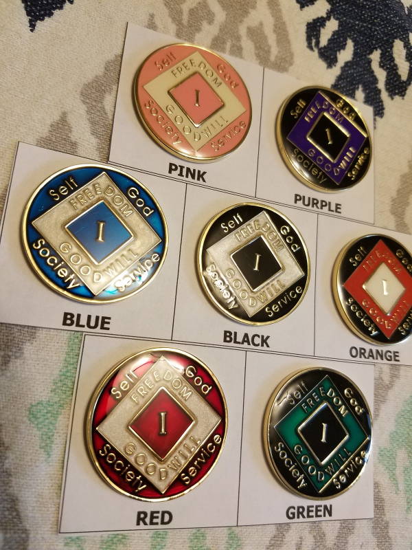 Narcotics Anonymous Tri Plated Medallion - 1 year - you choose the color - $22.00