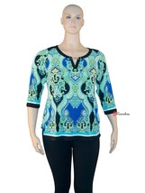 JM Collection Women's Top Blouse Plus 0X Blue Springtime 3/4 Sleeves $64 - $16.00
