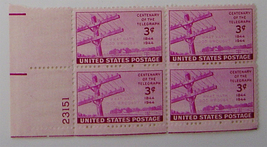 US#924 Plate Block of 4 1944 Stamp US 3C - CENTENARY OF THE TELEGRAPH MNH - $4.98