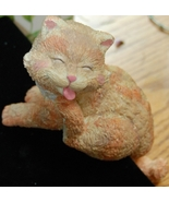 Tabby Shelf Cat - Busy Grooming Herself - $6.00