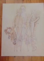Vintage Margaret Kane Pencil Drawing Of Marinettes-Signed Margaret Kane-... - $100.99