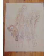 Vintage Margaret Kane Pencil Drawing Of Marinettes-Signed Margaret Kane-... - $24.99