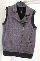 DKNY Zip Vest WOVEN KNIT 100% COTTON Doublure Lining Gray Size M NWOT - $39.85
