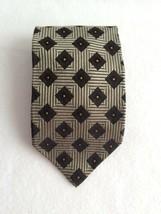 Ermenegildo Zegna Silk Tie Tan Art Deco Squares Black Diamond Orange Dot... - $28.00