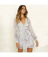 New grey floral sexy V neck long sleeve ruffle belted women dress spring... - $39.00