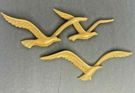 1981 Vintage 3 Brown Seagulls Birds in Flight Home Interiors HOMCO #1757-AB - $19.80