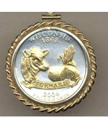 State of Wisconsin, 2-Toned, Gold on Silver, U.S Quarter Pendant Necklace - $132.00