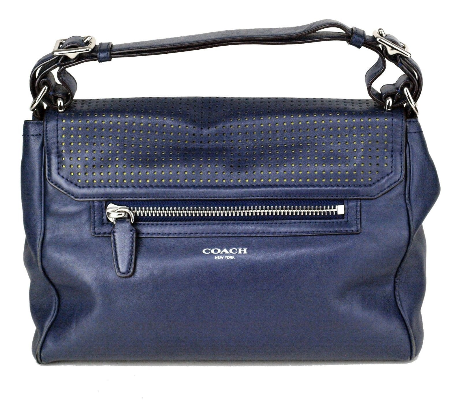 eb6d1565cb6b 100% Authentic COACH Legacy Perforated Leather Romy Navy Hand Bag Used